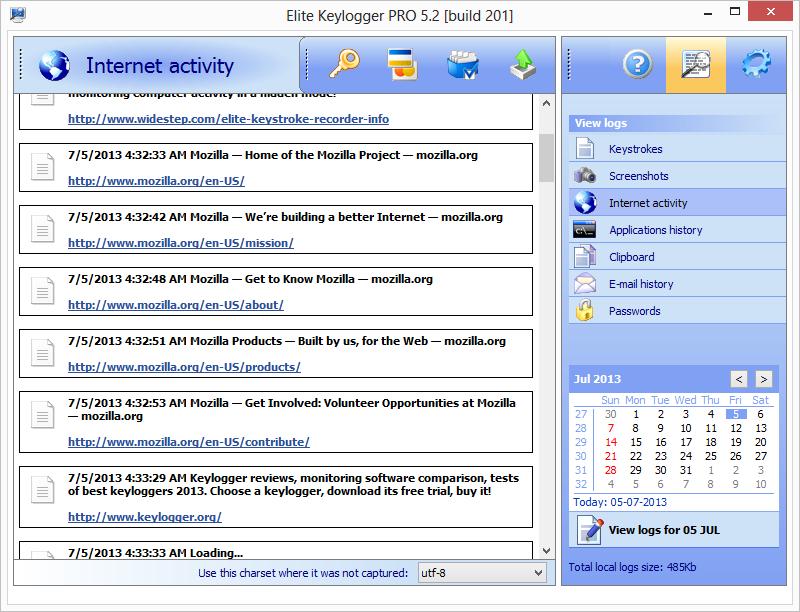 Main page → Elite Keylogger → Screenshots